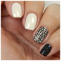 Orly frosting black a white nails