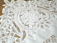 Antique Hand Made Battenberg Lace Tablecloth