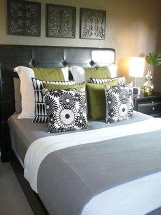 green + gray bedroom, my living room is currently green and gray. Olive Bedroom, Gray Bedroom, Grey Bedding, Home Bedroom, Modern Bedroom, Bedroom Decor, Bedroom Ideas, Bedroom Photos, Master Bedrooms