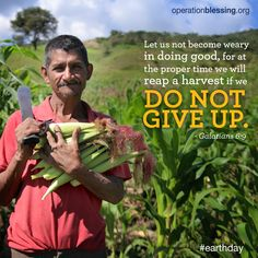"""Never give up! """"Let us not become weary in doing good, for at the proper time we will reap a harvest if we do not give up."""" Galatians 6:9. #EarthDay2015"""