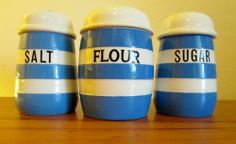 Set of T G Green Cornishware Flour, Sugar and Salt Shakers. Green Shield back stamp.