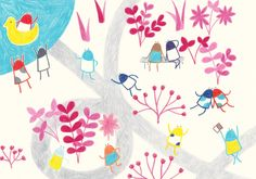 Didis are relaxing in the park. Children's Picture Book Illustration by Yodchat Bupasiri for Ilustrarte 2014 competition / kids / children / happiness / playground / park / duck / http://yodchatbupasiri.wordpress.com/