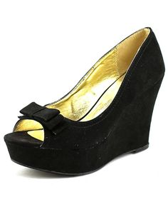 MATERIAL GIRL | Material Girl Debbie  Women  Open Toe Synthetic Black Wedge Heel #Shoes #Pumps & High Heels #MATERIAL GIRL