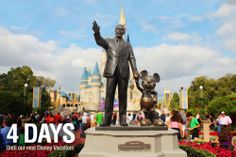 """4 Days until our next Disney Vacation!  We are counting the days to our next Disney trip with our favorite pics taken at the parks. This photo was taken of the Partners Statue at the Magic Kingdom. Let us know if you """"Like"""". #disneyside"""