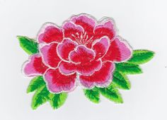 1 LARGE PINK RED WHITE GREEN FLOWER ROSE CAMELLIA EMBROIDERED IRON ON APPLIQUE