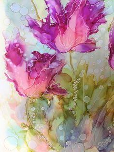 Best 12 Purple Plume Alcohol Ink Painting on Ceramic Tile with Black Frame or Stand – SkillOfKing. Alcohol Ink Crafts, Alcohol Ink Painting, Alcohol Ink Art, Watercolor And Ink, Watercolor Flowers, Watercolor Paintings, Drawing Flowers, Art Floral, Silk Painting