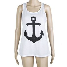 2016 Fashion Summer Style Women's Anchor Tanks Top Casual Vest tops navy anchor women Bow Tank Tops clothes t shirt