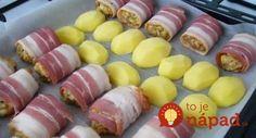 Jemne pikantné fašírky v slaninke, pečené so zemiakmi!