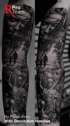 Realistic black and gray tattoo sleeve by Pavel Krim with Revolution Needles