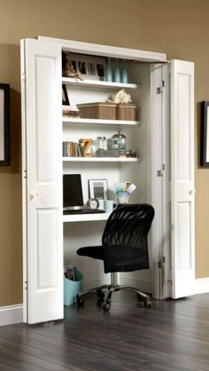 Organizing Tips For Small Spaces, Closet Office, Johnson Hardware. Keeping  Desk As Is, Add Shelving Which Would Help With The Recessed U0027wholeu0027 That Is  There ...