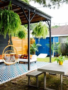 We built a shed and painted it a bold blue color (Blueberry using Pratt Backyard Retreat, Backyard Patio, Backyard Landscaping, Patio Design, Garden Design, Outdoor Spaces, Outdoor Living, Building A Shed, Back Patio