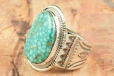 Genuine High Grade Kingman Turquoise set in Sterling Silver Ring. Created by Navajo Artist John Nelson. http://www.treasuresofthesouthwest.com/turquoise-rings.html