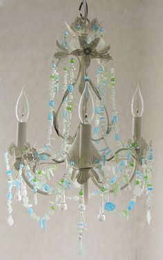 Seaglass Chandelier Beach Cottage Chic Coastal Decor Lighting Fixture Antique White