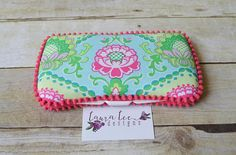 READY TO SHIP Hot Pink and Aqua Floral Travel Baby Wipe Case