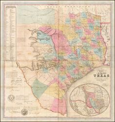 J. De Cordova's Map of the State of Texas Compiled from the records of the General Land Office of the State by Robert Creuzbaur, Houston. 1849. (Signed by Jacob De Cordova!) -