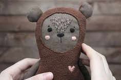 ♥Cute bear toy for baby, available for purchase on etsy♥ #cute #toy #bear #linen #buy #etsy #doll