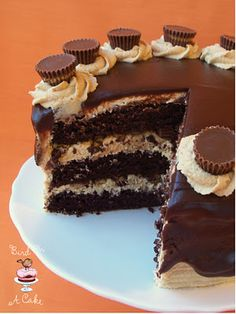 Moist chocolate cake, creamy peanut butter frosting, chunks of Reese's peanut butter cups, all covered with chocolate/peanut butter ganache..