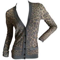 Yves Saint Laurent Sheer Pure Cashmere Leopard Print Cardigan Sweater Sz M | From a collection of rare vintage sweaters at https://www.1stdibs.com/fashion/clothing/sweaters/
