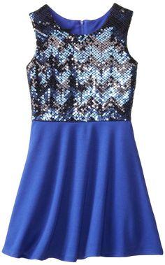 Amy Byer Big Girls' Missoni Sequin Dress, Cobalt Blue, 8