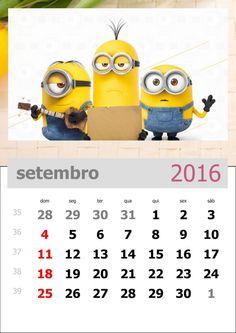 calendário 2016 dos minions mês de setembro