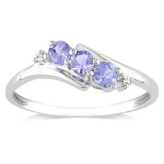 10k White Gold Tanzanite and Diamond 3-Stone Ring (0.018 cttw, GHI Color, I2-I3 Clarity) Amazon Curated Collection,