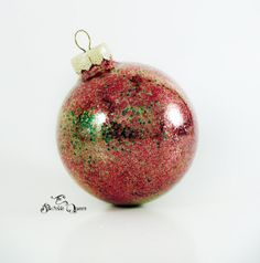The Spirit of Christmas –Glass Christmas Ornament with Gold Red and Green Glitter