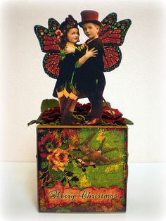 altered box by Vintage Gypsy Collages, Collage Art, Vintage Crafts, Vintage Art, Vintage Gypsy, Altered Tins, Altered Art, Christmas Fairy, Merry Christmas