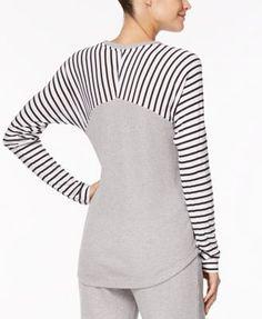 Alfani Striped-Sleeve Thermal Pajama Top, Created for Macy's - Gray XXXL