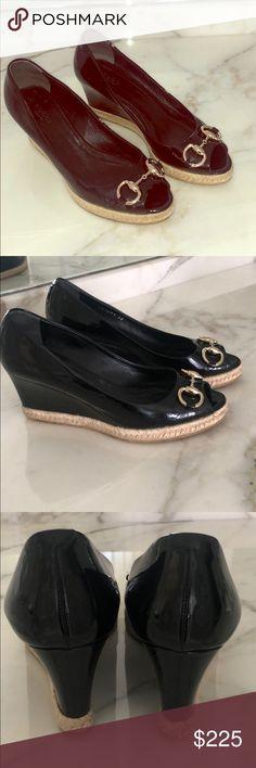 2eeb8b6af Gucci patent leather peep-toe horsebit espadrille Classic day-to-night  espadrille wedge