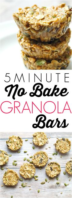 5 Minute No Bake Granola Bars.  Full of healthy ingredients like seeds and dried fruit, this is a great healthy snack recipe.  Gluten-free, vegan friendly (adaptable--sub out the honey for brown rice syrup) and they taste like a treat!  Ready in 5 minutes--just one bowl--such an easy recipe