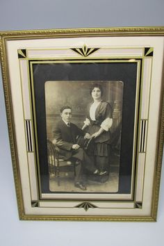 Art Deco Picture Frame Reverse Painted Glass Black And
