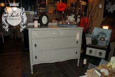 Antique dresser done in #MaisonBlanchePaint Hurricane and clear wax.  #Painting #Furniture #ShabbyChic #ChalkPaint