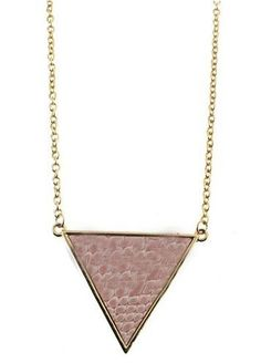 Pink Snakeskin Triangle Gold Long Chain Necklace