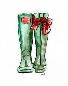 Gorgeous Christmas wellies...see how they were illustrated on my blog! #wellingtons #wellies #howto #illustration #christmas