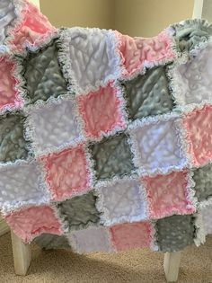 Beautiful large handmade floral polka dot flamingo and teal Flamingo themed Baby rag quilt Made with soft cotton-flannel Kid rag quilt