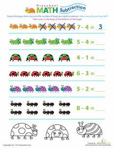 Worksheets: Preschool Math: Take Away the Bugs