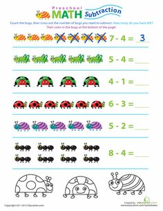 Worksheets: Preschool Math: Take Away the Bugs