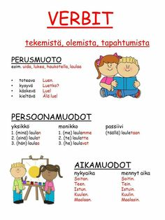 #sanaluokat #verbit Learn Finnish, Finnish Words, Finnish Language, Teaching Aids, Writing Skills, School Fun, Teaching English, Special Education, Vocabulary