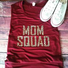 Items similar to Mom Squad Leopard tank, leopard, soft feel tank, muscle scoop tank on Etsy Boutique Tops, Cricut Ideas, Squad, Tank Man, Muscle, Baby Shower, Bear, Mom, Feelings