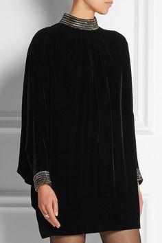 Saint Laurent | Beaded velvet mini dress | NET-A-PORTER.COM