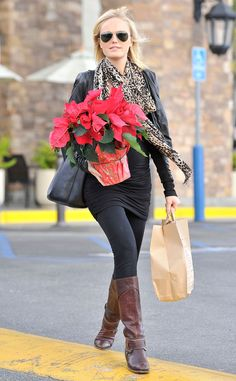 Malin Akerman spices up a black outfit with a leopard print scarf and brown studded boots in Los Feliz. http://www.eonline.com/photos/6415/celebrity-street-style/242961
