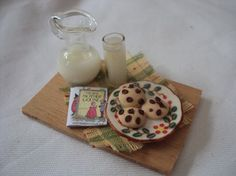 DOLLS HOUSE MINIATURES  MILK AND COOKIES by LittleHouseAtPriory