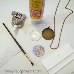 """Glass Map Necklace DIY :: xLaurieClarkex~ VERY helpful hints, like """"If you print an image off, I'd recommend using cheap photo paper. Regular paper doesn't hold a crisp image, and good photo paper tends to smear. Picture Necklace, Map Necklace, Pendant Necklace, Resin Pendant, Pearl Pendant, Pearl Necklace, Resin Jewelry, Jewelry Crafts, Handmade Jewelry"""