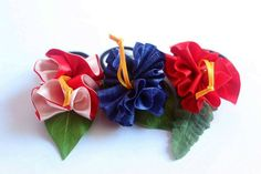 Your place to buy and sell all things handmade Hawaiian Party Favors, Ukulele Accessories, Ribbon Lei, Ponytail Holders, Hair Accessories For Women, Colorful Flowers, Red And Pink, Hibiscus, Tropical