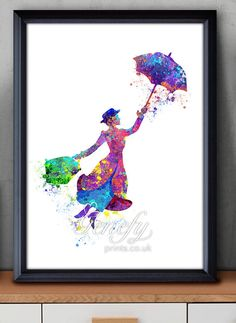 Disney Mary Poppins Watercolor Poster Print - Wall Decor - Artwork- Painting - Illustration - Home Decor - Kids Decor - Nursery Decor