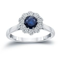 Auriya 14k Gold 3/5ct Blue Sapphire and 1/2ct TDW Diamond Halo Engagement Ring (H-I, I1-I2) (Yellow Gold - Size 4), Women's