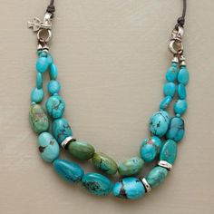 TWO STRAND TURQUOISE NECKLACE - Designed Exclusively by Peyote Bird Designs for Sundance Catalog.