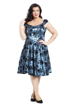 Gorgeous blue taffeta dress with flocked bird & flower designs! Available online in sizes 16-26 -->  http://www.claireabellascloset.co.uk/vintage/vintage-plus-size/product/1659-voodoo-vixen-holly-taffeta-dress-plus-size-16-26