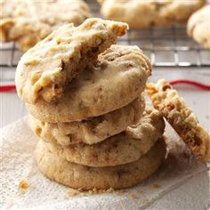Toffee Almond Sandies Recipe -Crisp and loaded with goodies, these are my husband's favorite cookies. I used to bake them in large batches when our four sons still lived at home. Now I whip them up for our grandchildren. -Alice Kahnk, Kennard, Nebraska