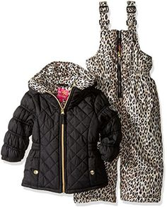 Pink Platinum Girls Quilted Snowsuit with Cheetah Print Snowsuit